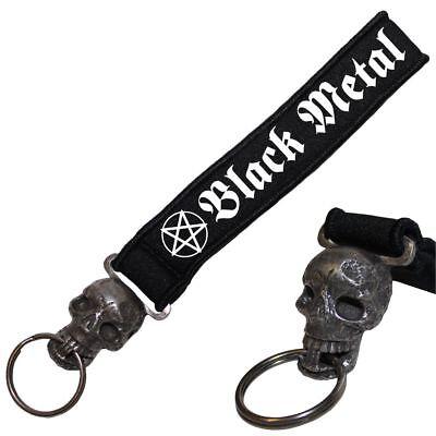 Schädel Neopren Schlüsselanhänger Totenkopf Black Metal Pentagram 666 Hell Dark