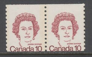 Canada-Sc-605-MNH-1976-10c-miscut-QEII-Tagged-Coil-Pair