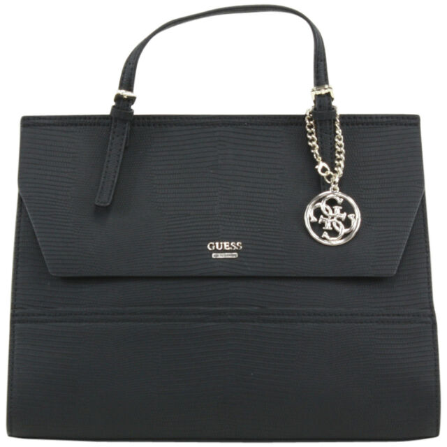 GUESS Huntley Top Handle Black Leather Satchel