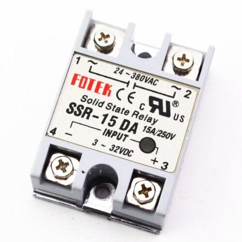 1Pcs Solid State Relay Module 3-32V DC Input 24-380VAC SSR-15DA 15A