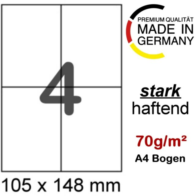 100 A4 Blatt 400 Etiketten 105 x 148,5 mm Format wie Zweckform 3483 Herma 4676