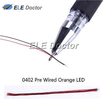 10pcs 0603 1608 Orange Light SMD Pre-Wired LED Diodes Soldered 20cm Length