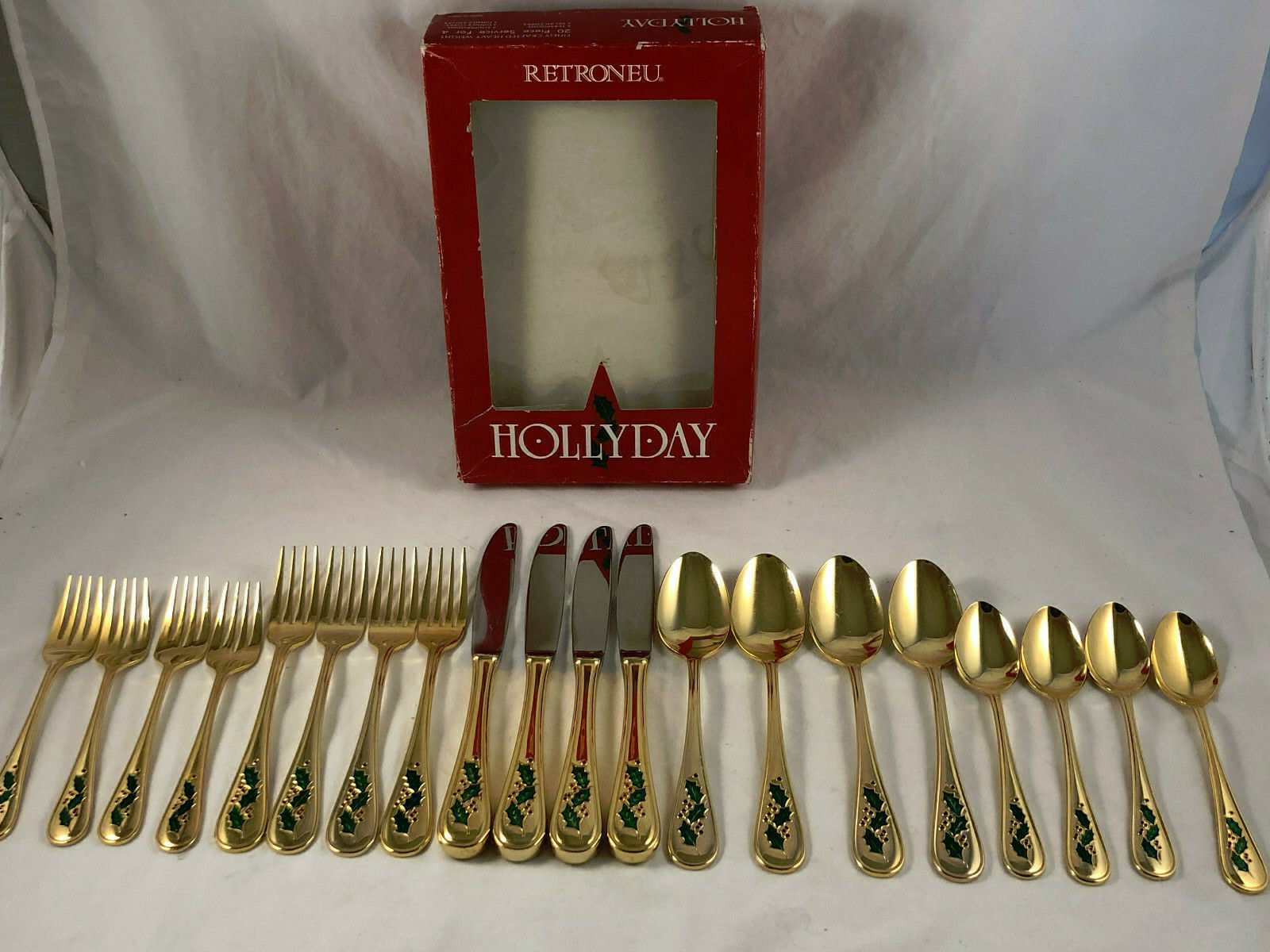 Retroneu or électroplaqué Hollyday Coutellerie quatre 5pc Couverts - 20pcs in