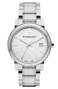 Burberry-BU9100-Large-Check-Silver-Swiss-Stainless-Steel-34mm-Women-039-s-Watch