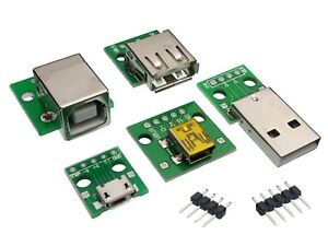 USB-Adapter-PCB-DIY-DIP-Breadboard-Modules-Type-A-M-F-B-Mini-Micro