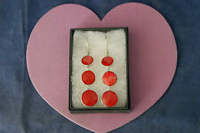 Beautiful 925 Silver Earring With Red Coral 7.6 Gr.5 Cm.Long + Hooks In Gift Box