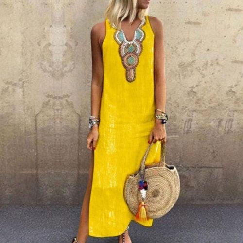 UK Boho Womens Kaftan Shirt Dress Ladies Summer Beach Maxi Long Dress Plus Size