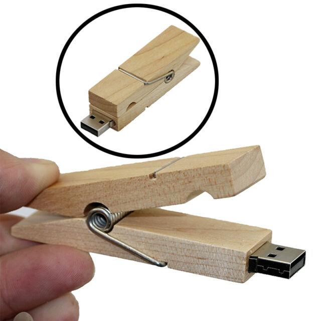 Wooden Clip model USB 2.0 Memory Stick Flash pen Drive 4GB 8GB 16GB 32GB P119