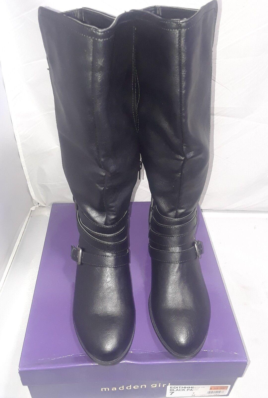 Womens Madden Girl  Edith  Black Mid-Calf Boots 7M