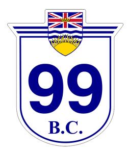 British Columbia Highway 99 Sticker Decal R972 Highway Sign