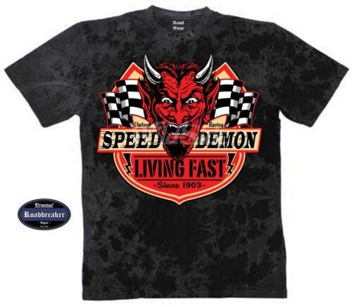 T Shirt Batik Schwarz Auto Racer Biker/&OMotorradmotiv Speed Demon Living Fast