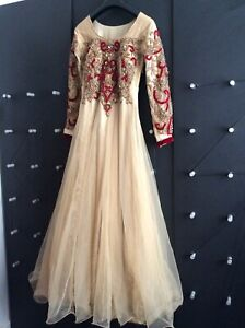 Details About Women Indian Pakistani Anarkli Long Maxi Dress Wedding Size S M Worn Once
