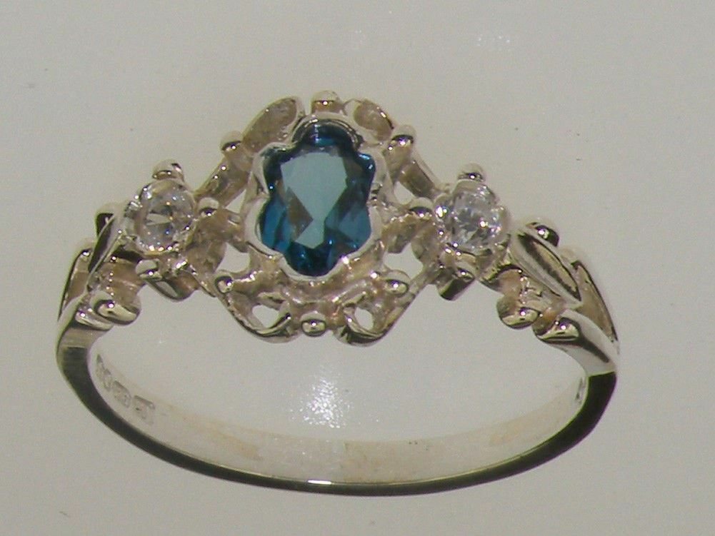 9ct White gold Natural London bluee Topaz & Diamond Womens Trilogy Ring