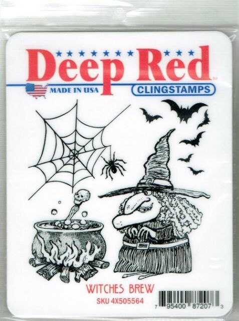 Deep Red Rubber Stamp Witches Brew Spiders Happy Halloween Potion Brewing Bats