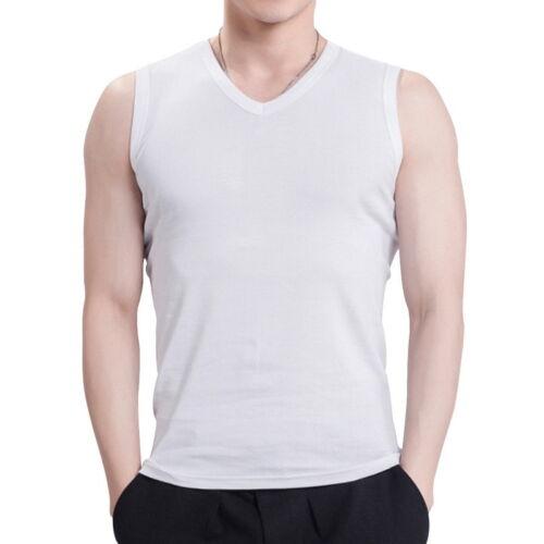 Mens Cotton Slim Fit Sport Vest Tank Tops V-Neck Solid Sleeveless Basic Tee F//1