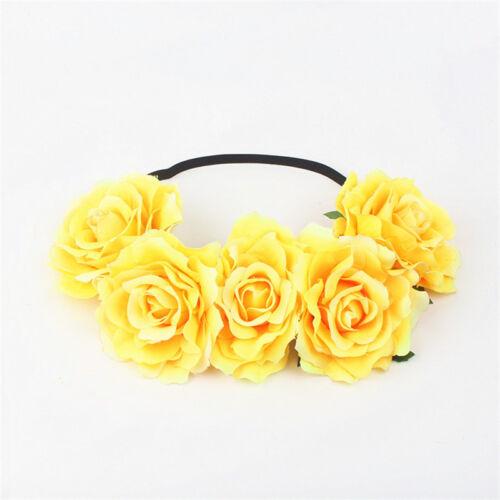 Bridal Rose Flower Crown Headband Elastic Hairband Headpiece Garland Festival