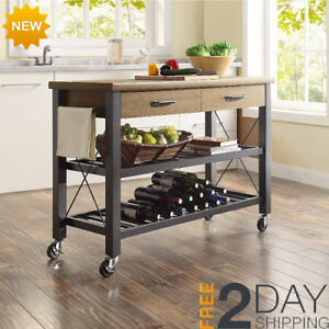 Details About Portable Kitchen Island Cart Farmhouse Rustic Gray  Multi Purpose Utility Table