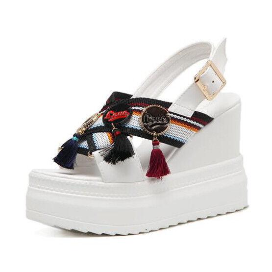 Sandali eleganti  bianco Couleurate 10 zeppa platform  simil pelle eleganti 9939