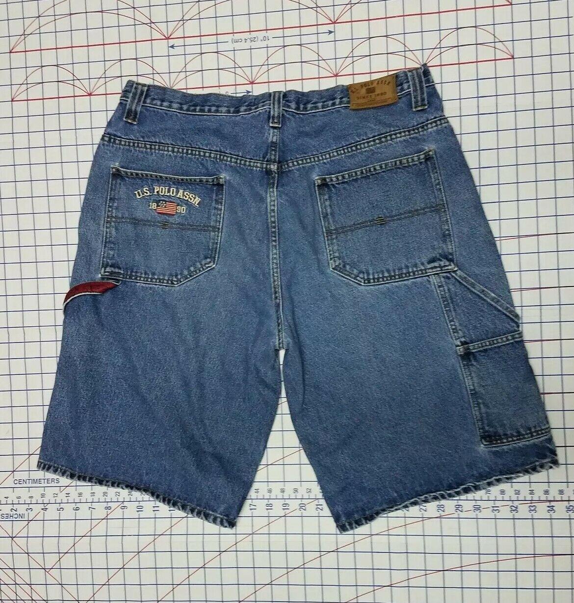 U.S Polo Assn Ralph Lauren 38 x 13 jeans Denim shorts bluee baggy loose straight