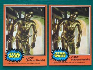 1977 O-Pee-Chee Star Wars C-3PO Golden Rod Error & Corrected REPRINT Cards #141