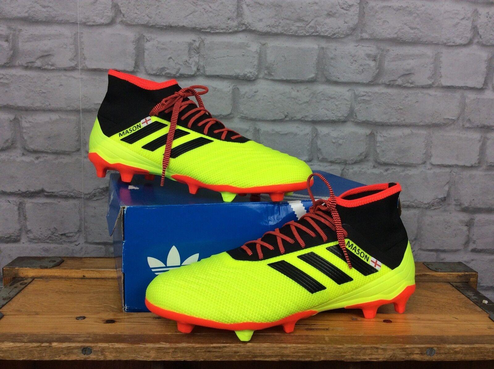 Adidas Para Hombre 9 UE 43 1 3 18.2 FG botas De Fútbol Rojo Negro Amarillo Personalizado