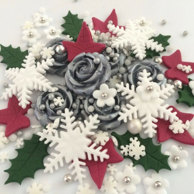 Silver Christmas Bouquet Edible Sugar Flowers Cup Cake Decorations ...