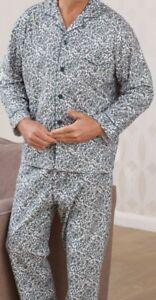 Campione 3xl da in Paisley Button Taglia Blu Up uomo cotone tradizionale Pigiama tPrxYwnqat