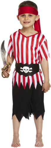 U00 060 Fancy Dress Pirate Boy Costume 3 Sizes Age 4-12