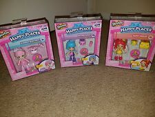 Shopkins Shoppie Pack Happy Places LOT-3-Chelsea Polli Candy Slumber Puppy ++