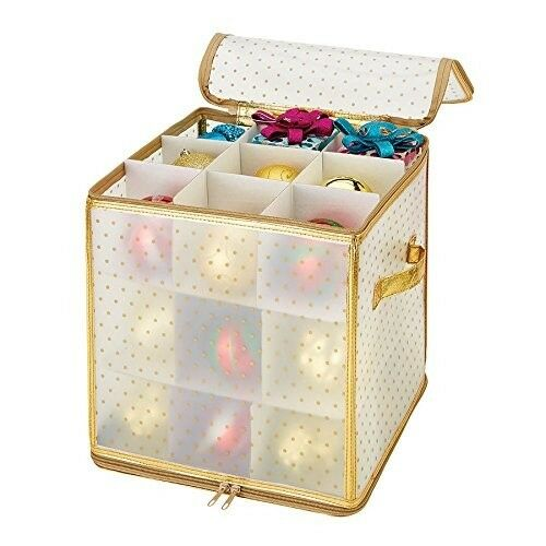 "Ornament Plastic Storage Box in Gold NEW NIB Simplify 27-Count Large 4/"" Dia"