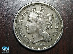 1866 3 Cent Nickel Piece    BETTER GRADE!  NICE TYPE COIN!  #B6648