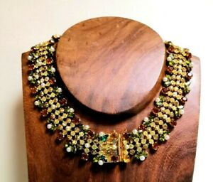 Stunning-Vintage-1950s-1960s-Multicolored-Rhinestone-Pearl-Collar-Necklace-Chic