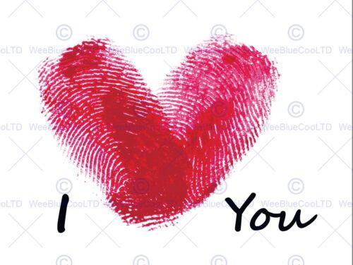 PAINTING FINGERPRINT LOVE HEART ROMANCE ROMANTIC VECTOR POSTER PRINT BMP11282