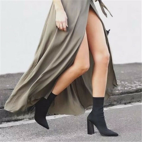 UK Womens Stretchy Ankle Boots Sexy Pointy toe High Block Heel Sock Boots shoes