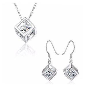 2fff89a66 Women's Silver Cube Necklace & Earrings Set Crystal Stone Gift ...