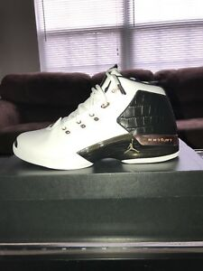 f4febfb380c9de Nike Air Jordan 17+ Retro Mens Size White Black Metallic Copper New ...