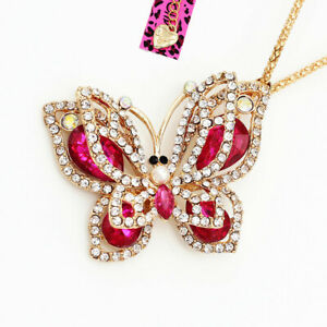 Betsey-Johnson-Crystal-Rhinestone-Butterfly-Pendant-Sweater-Chain-Necklace-Gift