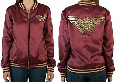 Wonder Woman Jacket Bomber Satin DC Comics Movie Big Logo Women Juniors S M L XL
