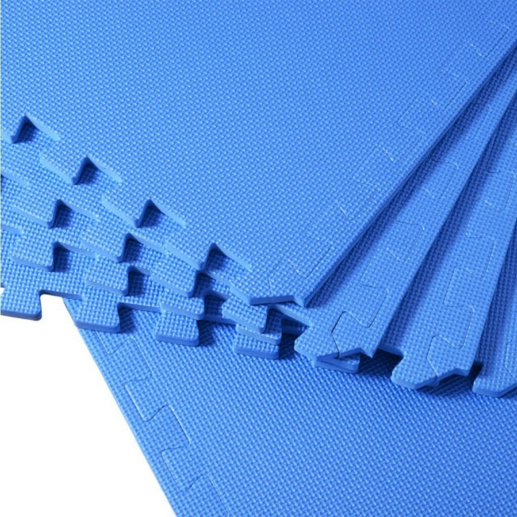 Fitnessmatte  Schutzmatten Puzzlematte Yoga Turnmatte EVA Blau 60x60x1.2cm 8tlg