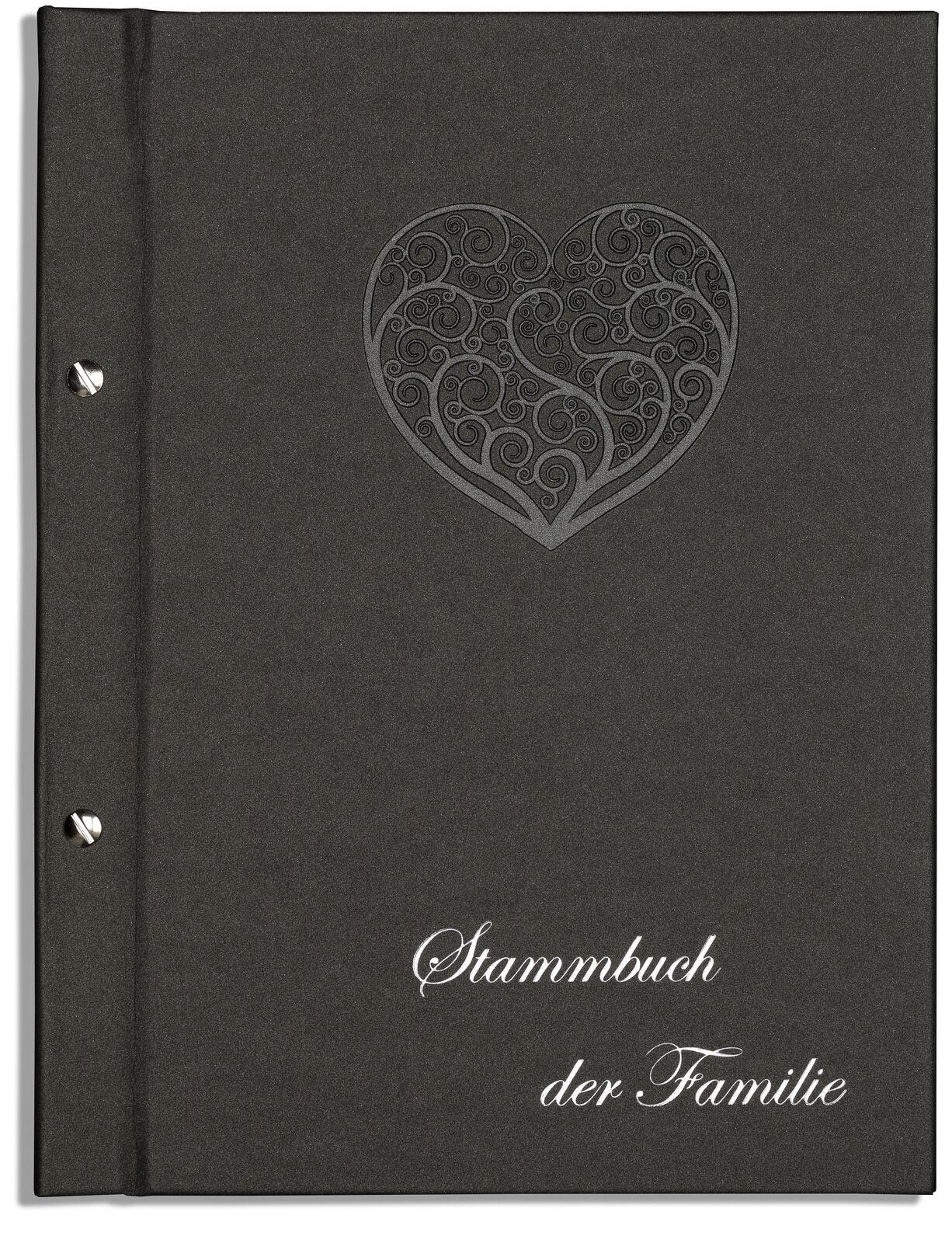 Din A4 Stammbuch der Familie Dany, Ornamentherz, anthrazitfarben, Stammbücher | Günstige Preise  | Niedrige Kosten  | Verschiedene Stile und Stile