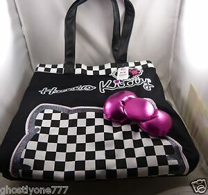 Hello-Kitty-purse-tote-bag-black-and-white-checker-pink-3d-bow