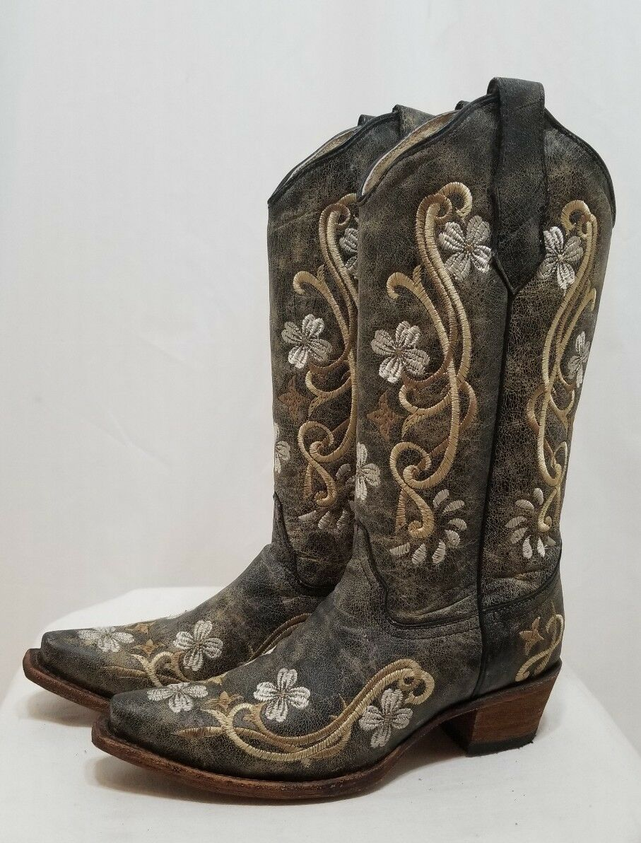 CIRCLE G WOMENS CORRAL DISTRESSED FLORAL COWBOY BOOTS #L5175 BROWN 7.5 NEW $196