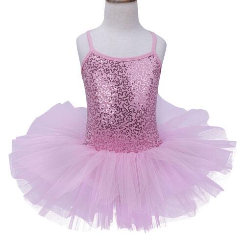 Kids Girls Party Sequin Tutu Ballet Leotard Dress Ballerina Dance Costume 3-12Y