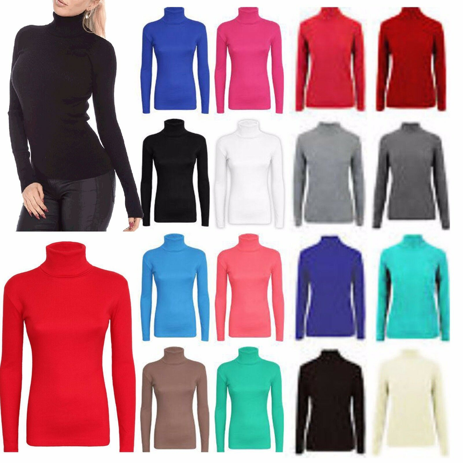 LADIES SKINNY RIB COTTON POLONECK TOP WOMEN COTTON LONG SLEEVE ROLL NECK TOP S-L