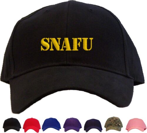 SNAFU Embroidered Baseball Cap Hat Available in 7 Colors