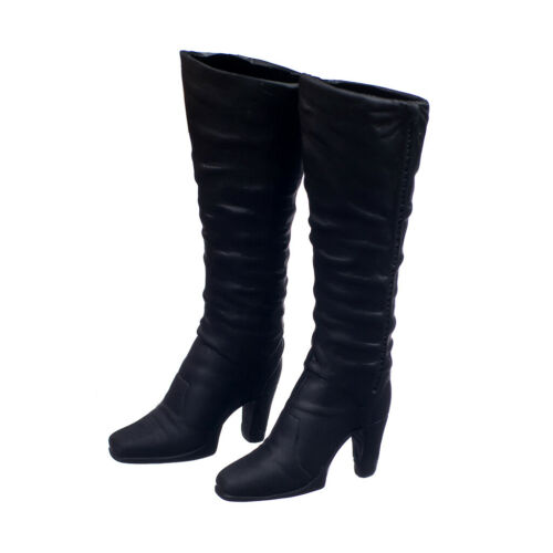 """Black 1//6 Scale High Heeled Long Boots Shoes For 12/"""" Figure Body Kids Toy"""