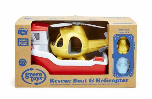 The Original Green Toys Rescue Boat with Helicopter Eco Toy Made in USA Brand NE