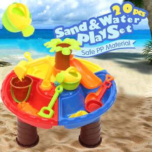 22 pi ce enfant b b bac sable plastique jouet de plage bain jeux eau table ebay. Black Bedroom Furniture Sets. Home Design Ideas