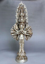 RARE Tibet Buddhism Silver Bodhisattva Thousand-Hand Guan Yin Buddha Statue