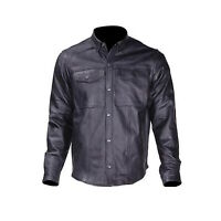 Mens Black Split Leather Motorcycle Biker Club Shirt Snap Down Collar Snap Front